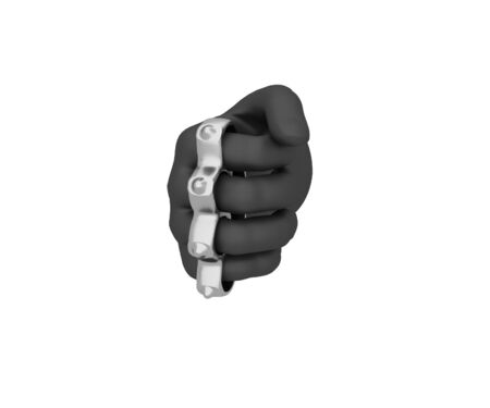 knuckles: Hand in a black glove holding a knuckles. 3d render. White background.