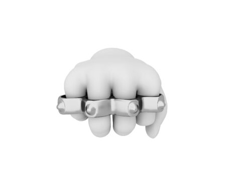 organized crime: Hand in a white glove holding a knuckles. 3d render. White background. Stock Photo