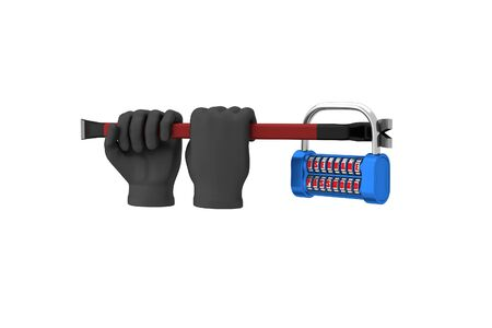 hack: Hands in black gloves with a crowbar hack the padlock. 3d render. White background.