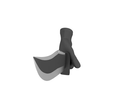 holding a knife: Hand in a black glove holding a knife. 3d render. White background.