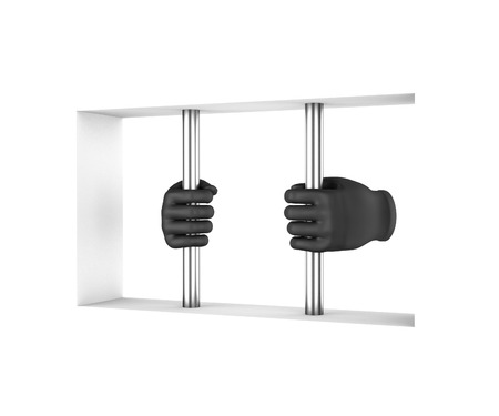 confined: Hands in black gloves decompress the prison bars. 3d render. White background. Stock Photo