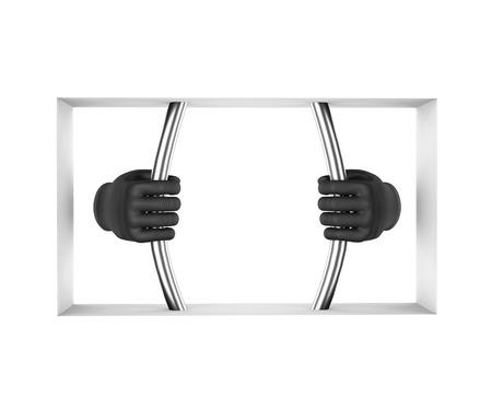 drug dealer: Hands in black gloves decompress the prison bars. 3d render. White background. Stock Photo