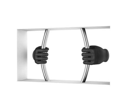 prison break: Hands in black gloves decompress the prison bars. 3d render. White background. Stock Photo