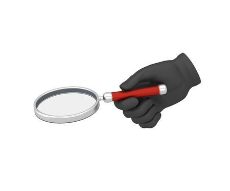 oversized: Hand in a black glove holding a loup. 3d render. White background.