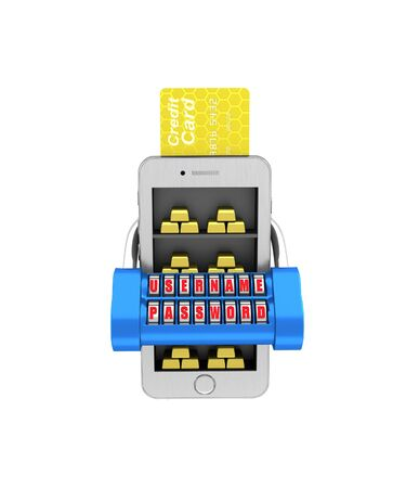 E-banking. Gold brick in the smartphone protected. 3d illustration on a white background