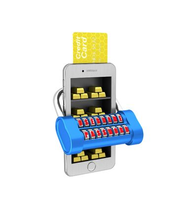 phon: E-banking. Gold brick in the smartphone protected. 3d illustration on a white background