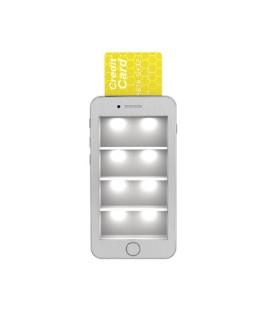 phon: E-commerce. Online Store in the smartphone protected. 3d illustration on a white background