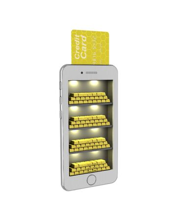 phon: E-banking. Gold bullion in the smartphone. 3d illustration on a white background. Render.
