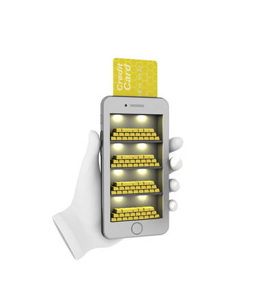 phon: E-banking. Gold bullion in the smartphone. 3d illustration on a white background Stock Photo