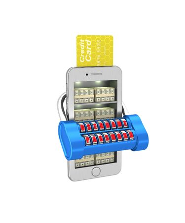 phon: E-banking. Stack of currency in the smartphone protected. 3d illustration on a white background