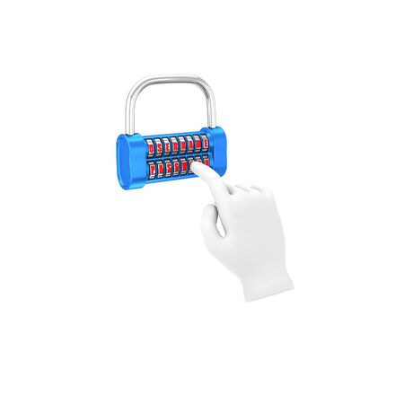 username: Hand in a white glove holding a padlock � username, password. 3d illustration on a white background. Render.