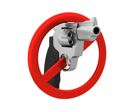 exclude: Sign of the ban - a revolver. 3D render. Isolated on white background. Stock Photo
