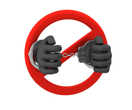 Sign of the ban - a crime. 3D render. Isolated on white background.