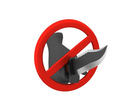 exclude: Sign of the ban - a knife. 3D render. Isolated on white background.