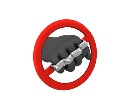 exclude: Sign of the ban - the brass knuckles. 3D render. Isolated on white background.