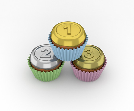 third birthday: Cupcakes set - medals on a white background. 3d render.