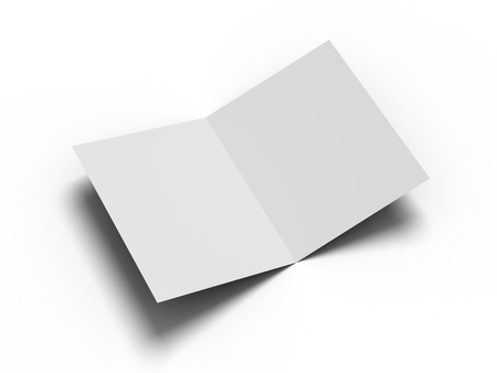White vertical booklet mockap brochure magazine A4 divided into two parts isolated. 3D image.