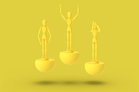 Three toy man of yellow color on a sports abstract pedestal. Concept: winner, loser. 3D render. Stock Photo