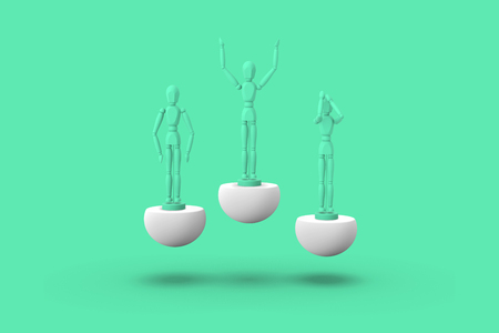 Three toy man of green color on a sports abstract pedestal. Concept: winner, loser. 3D render.