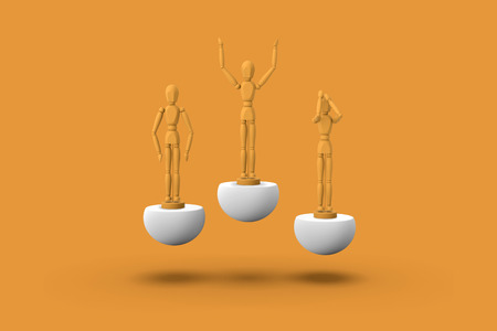 Three toy man of orange color on a sports abstract pedestal. Concept: winner, loser. 3D render.