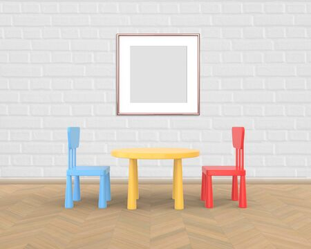 Two Vertical Frame mockup of rose gold in the nursery. The minimalist interior of a childrens colored table and chairs on a white wooden background. 3D rendering.
