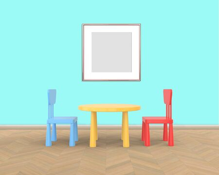 Square Frame mockup of rose gold in the nursery. The minimalist interior of a childrens colored table and chairs on a blue background. 3D rendering.