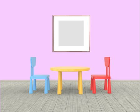 Square Frame mockup of rose gold in the nursery. The minimalist interior of a childrens colored table and chairs on a pink background. 3D rendering.