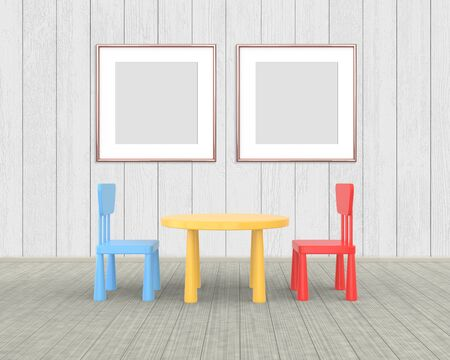 Two Square Frame mockup of rose gold in the nursery. The minimalist interior of a childrens colored table and chairs on a white wooden background. 3D rendering.