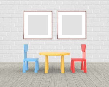 Two Square Frame mockup of rose gold in the nursery. The minimalist interior of a childrens colored table and chairs on a brick background. 3D rendering.