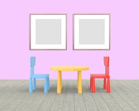 Two square Frame mockup of rose gold in the nursery. The minimalist interior of a childrens colored table and chairs on a pink background. 3D rendering.