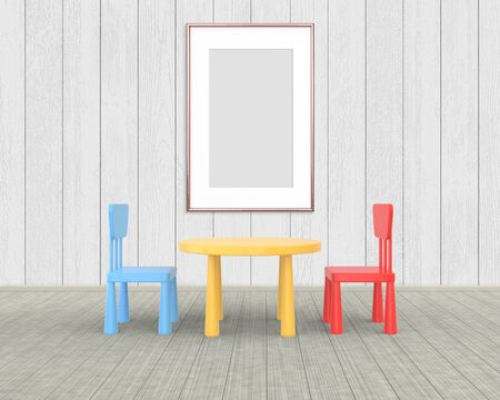 Vertical Frame mockup of rose gold in the nursery. The minimalist interior of a childrens colored table and chairs on a white wooden background. 3D rendering.