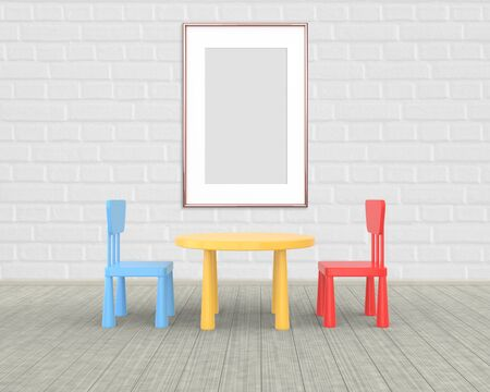 Vertical Frame mockup of rose gold in the nursery. The minimalist interior of a childrens colored table and chairs on a white brick background. 3D rendering.