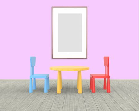 Vertical Frame mockup of rose gold in the nursery. The minimalist interior of a childrens colored table and chairs on a pink background. 3D rendering. Stockfoto