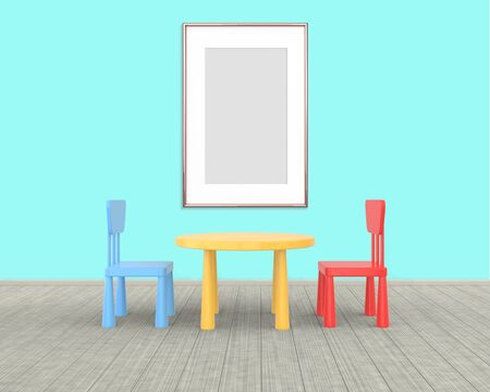 Vertical Frame mockup of rose gold in the nursery. The minimalist interior of a childrens colored table and chairs on a blue background. 3D rendering. Stockfoto