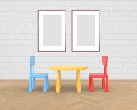 Two Vertical Frame mockup of rose gold in the nursery. The minimalist interior of a childrens colored table and chairs on a white brick background. 3D rendering.