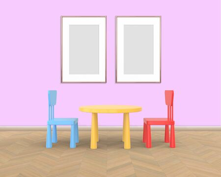 Two Vertical Frame mockup of rose gold in the nursery. The minimalist interior of a childrens colored table and chairs on a pink background. 3D rendering. Stockfoto