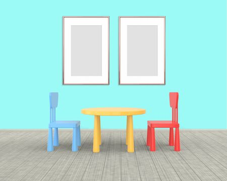 Two vertival Frame mockup of rose gold in the nursery. The minimalist interior of a childrens colored table and chairs on a blue background. 3D rendering.