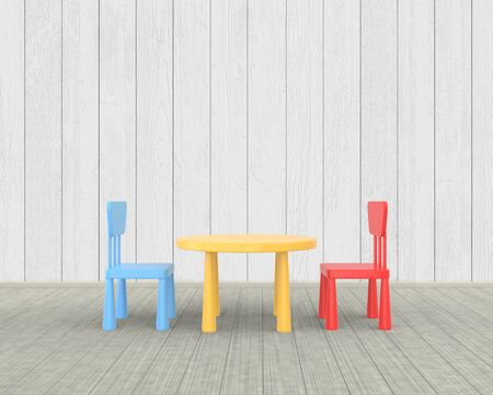 The minimalist nursery interior of a childrens colored table and chairs on a white wooden background. 3D rendering. Stockfoto