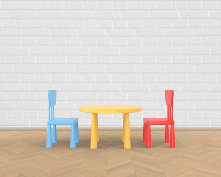 The minimalist nursery interior of a childrens colored table and chairs on a brick background. 3D rendering.