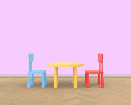 The minimalist nurseru interior of a childrens colored table and chairs on a pink background. 3D rendering.