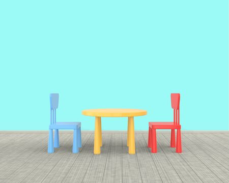 The minimalist nursery interior of a childrens colored table and chairs on a blue background. 3D rendering.