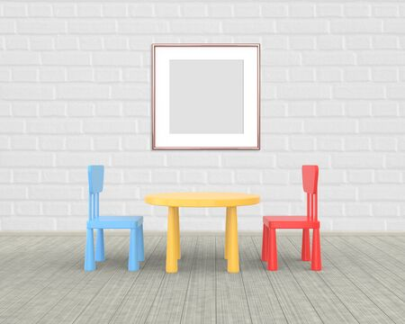 Square Frame mockup of rose gold in the nursery. The minimalist interior of a childrens colored table and chairs on a brick background. 3D rendering. Stockfoto
