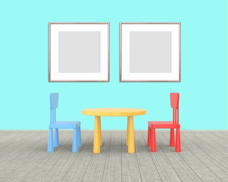 Two square Frame mockup of rose gold in the nursery. The minimalist interior of a childrens colored table and chairs on a blue background. 3D rendering. Stockfoto