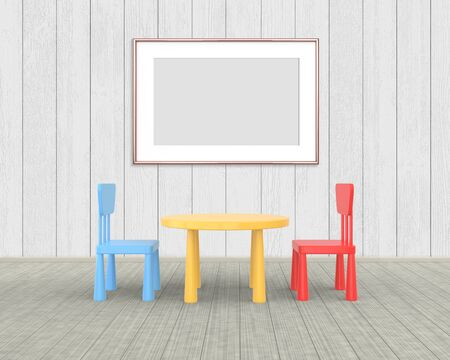 Horizontal Frame mockup of rose gold in the nursery. The minimalist interior of a childrens colored table and chairs on a white wooden background. 3D rendering.