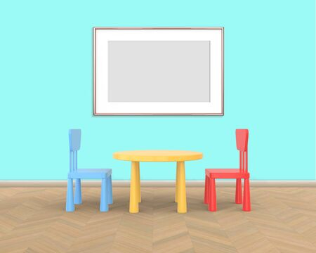 Horizontal Frame mockup of rose gold in the nursery. The minimalist interior of a childrens colored table and chairs on a blue background. 3D rendering. Stockfoto
