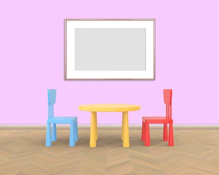 Horizontal Frame mockup of rose gold in the nursery. The minimalist interior of a childrens colored table and chairs on a pink background. 3D rendering.