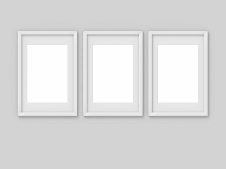 Set of 3 vertical A4 white simple picture frame with a border. Mockup for photography. 3D rendering