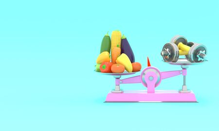 Fresh vegetables and dumbbells on different scales. Conceptual illustration with empty place for text. 3d rendering