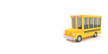 Cartoon school bus yellow on a white background. Simple isolated school illustration. 3D rendering.