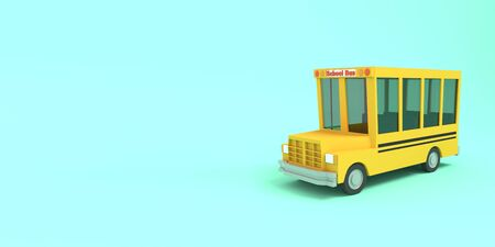 Cartoon school bus yellow on a blue background. Simple isolated school illustration. 3D rendering.